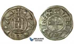 J39, Italy, Genoa, Republic (1139-1339) Denaro, Billon (0.95g) Well struck, Sharp details!