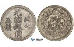 J43, China, Sinkiang, 5 Miscals AH1322, Kashgar, Silver (16.88g) Y35, High Grade