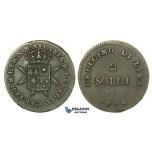 J51, Italy, Florence, Carlo Ludovico and Maria Luisa, 2 Soldi 1804, Nice & Rare!