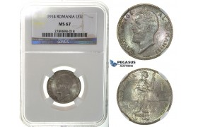 J56, Romania, Carol I, Leu 1914, Brussels, Silver, NGC MS67 (Pop 1/1, best!)