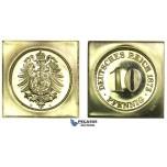 J60, Germany, Klippe 10 Pfennig 1873-G, Official Restrike in Gold (9.90g) KM-PnA9, Proof