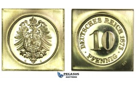 J60, Germany, Klippe 10 Pfennig 1873-G, Official Restrike in Gold (9.90g) KM-PnA9, Proof
