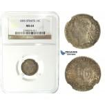 J61, Straits Settlements, Victoria, 10 Cents 1895, Silver, NGC MS64, Rare Grade!