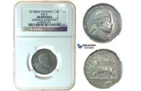 J66, Ethiopia, Menelik II, 1/4 Birr EE1889-A, Paris, Silver, NGC AU Det.