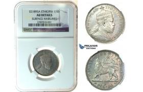J67, Ethiopia, Menelik II, 1/4 Birr EE1895-A, Paris, Silver, NGC AU Det.