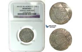 J69, Morocco, Abd al Aziz, 1/4 Rial AH1321, Berlin, Silver, NGC AU Det.