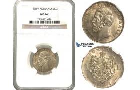 J71, Romania, Carol I, 1 Leu 1881-V, Vienna, Silver, NGC MS62