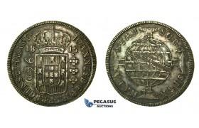 J79, Brazil, Joao VI, 960 Reis 1815 (B) Silver (Overstruck on 8 Reales) Dark Toning!