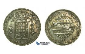 J80, Brazil, Joao VI, 960 Reis 1816-R, Rio de Janeiro, Silver (Overstruck on 8 Reales, Santiago, Chile, FJ) Rare!