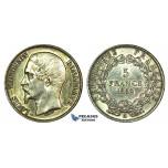 J87, Frace, Louis-Napoleon, 5 Francs 1852-A, Paris, Silver, High Grade (Cleaned)