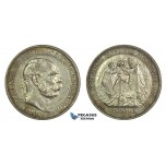 J90, Hungary, Franz Joseph, 5 Korona 1907-KB, Kremnitz (Coronation) Silver, Nice!