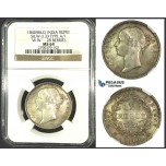 J91, East India Company, Victoria, Rupee 1840 (B&C) SW 3.33, 28 Berries, Silver, NGC MS64