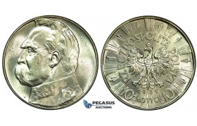 K03, Poland, 10 Zlotych 1939, Silver, UNC Details (Few hairline Scratches on Rev.)