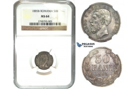 K04, Romania, Carol I, 50 Bani 1885-B, Bucharest, Silver, NGC MS64 (Pop 1/1) No better, Extremely Rare!
