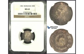 K05, Romania, Carol I, 50 Bani 1901, Hamburg, Silver, NGC MS63, Rare Grade!