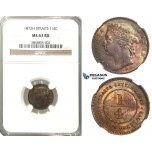 K09, Straits Settlements, Victoria, 1/4 Cent 1872-H, Heaton, NGC MS63RB