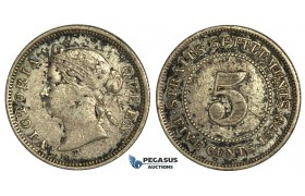 K10, Straits Settlements, Victoria, 5 Cents 1873, Silver, Nice & Uncleaned! Very Rare!