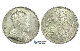K11, Straits Settlements, Edward VII, Dollar 1909, Silver, Nice!