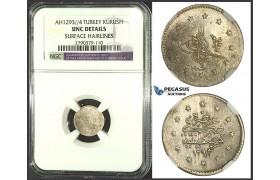 K14, Ottoman Empire, Turkey, Abdülhamid II, 1 Kurush AH1293/4, Silver, NGC UNC Det. Rare!