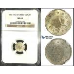 K15, Ottoman Empire, Turkey, Abdülhamid II, 1 Kurush AH1293/4, Silver, NGC MS63 (Pop 1/1, no better!) Very Rare!