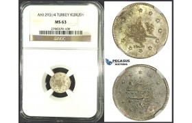 K15, Ottoman Empire, Turkey, Abdülhamid II, 1 Kurush AH1293/4, Silver, NGC MS63 (Pop 1/1, no better!) Very Rare!