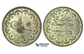 K17, Ottoman Empire, Turkey, Abdülhamid II, 10 Kurush AH1293/33, Silver, High Grade!
