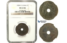 K21, French Indo-China (Vietnam) 1 Centime 1909-A, Paris, NGC MS63BN Rare!