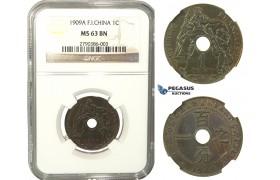 K21, French Indo-China (Vietnam) 1 Centime 1909-A, Paris, NGC MS63BN Rare!