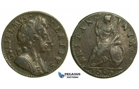 "K26, Great Britain, William III, Farthing 1696, Small ""B"" in Britannia, GVF-EF"