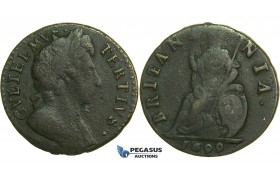 K28, Great Britain, William III, Farthing 1699, F-VF