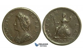 K32, Great Britain, George II, Farthing 1730, VF