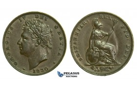 K53, Great Britain, George IV, Farthing 1830, VF-EF
