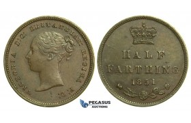 K77, Great Britain, Victoria, Half (1/2) Farthing 1851, GEF