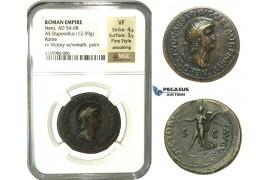 K89, Roman Empire, Nero (54-68 AD) AE Dupondius (12.59g) 63 AD, Rome, NGC VF Fine Style