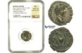 K91, Roman Empire, Marcus Aurelius (161-180 AD) AR Denarius (3.13g) 140-144 AD, Rome, NGC XF