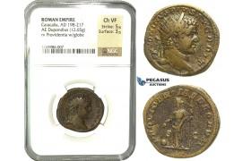 K92, Roman Empire, Caracalla (198-217 AD) AE Dupondius (12.65g) 210-213 AD, Rome, NGC Ch VF