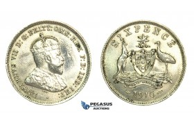 K94, Australia, Edward VII, Six Pence 1910, Silver, High Grade, polishing on Obv.