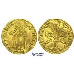 L04, Hungary, Ludwig I, Goldgulden ND (1342-82) Gold (3.53g) Buda, Very Nice!