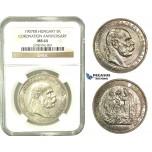 L06, Hungary, Franz Joseph, Coronation 5 Korona 1907-KB, Kremnitz, Silver, NGC MS64