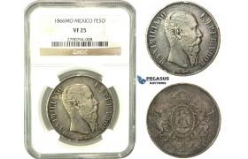 L07, Mexico, Maxilimian, Peso 1866-Mo, Mexico City, Silver, NGC VF25