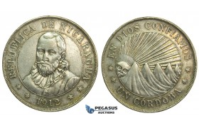 L09, Nicaragua, 1 Cordoba 1912-H, Silver, Toned High Grade!