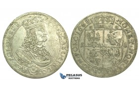 L13, Poland, Johann Kazimir, Ort 1668-TLB, Silver (6.07g) High Grade with Excellent details!