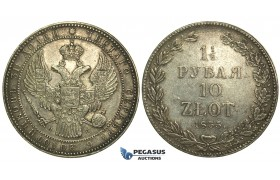 L14, Poland (under Russia) Nicholas I, 1-1/2 Rouble/10 Zlotych 1835 НГ, St. Petersburg, Silver, Bitkin 1088, Nice!