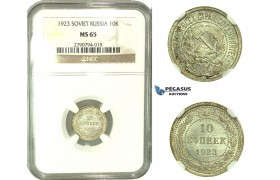 L19, Russia (Soviet Union) 10 Kopeks 1923, Silver, Leningrad, NGC MS65