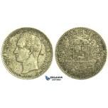 L30, Venezuela, 1/2 Bolivar 1879, Brussels, Silver, Nice & Rare!