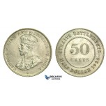 L38, Straits Settlements, George V, 50 Cents 1920, Silver, High Grade!