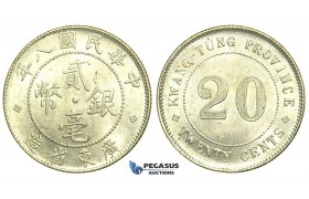 L45, China, Kwangtung, 20 Cents Yr. 8 (1919) Silver, aUNC
