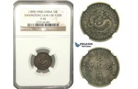 L46, China, Kwangtung, 10 Cents ND (1890-1908) Silver, NGC F15