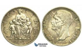 L51, Italy, Vittorio Emanuele III, 5 Lire 1937-R, Rome, Silver