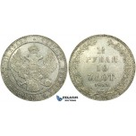 L54, Poland (under Russia) Nicholas I, 1-1/2 Rouble/10 Zlotych 1833 НГ, St. Petersburg, Silver, Bitkin 1084, Cleaned High Grade!